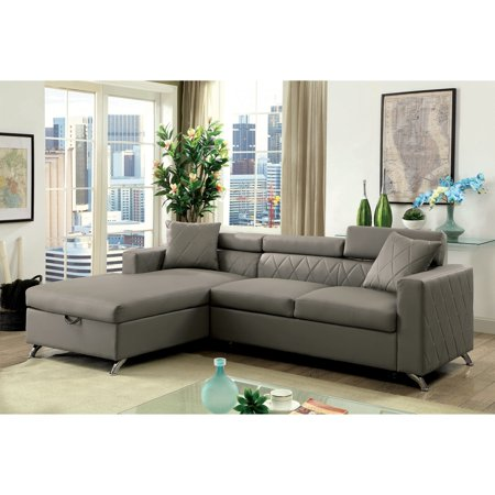 Furniture of America  Klenins Contemporary Tufted Grey Leather Sectional with Pull-out Bed and Storage Chaise ()