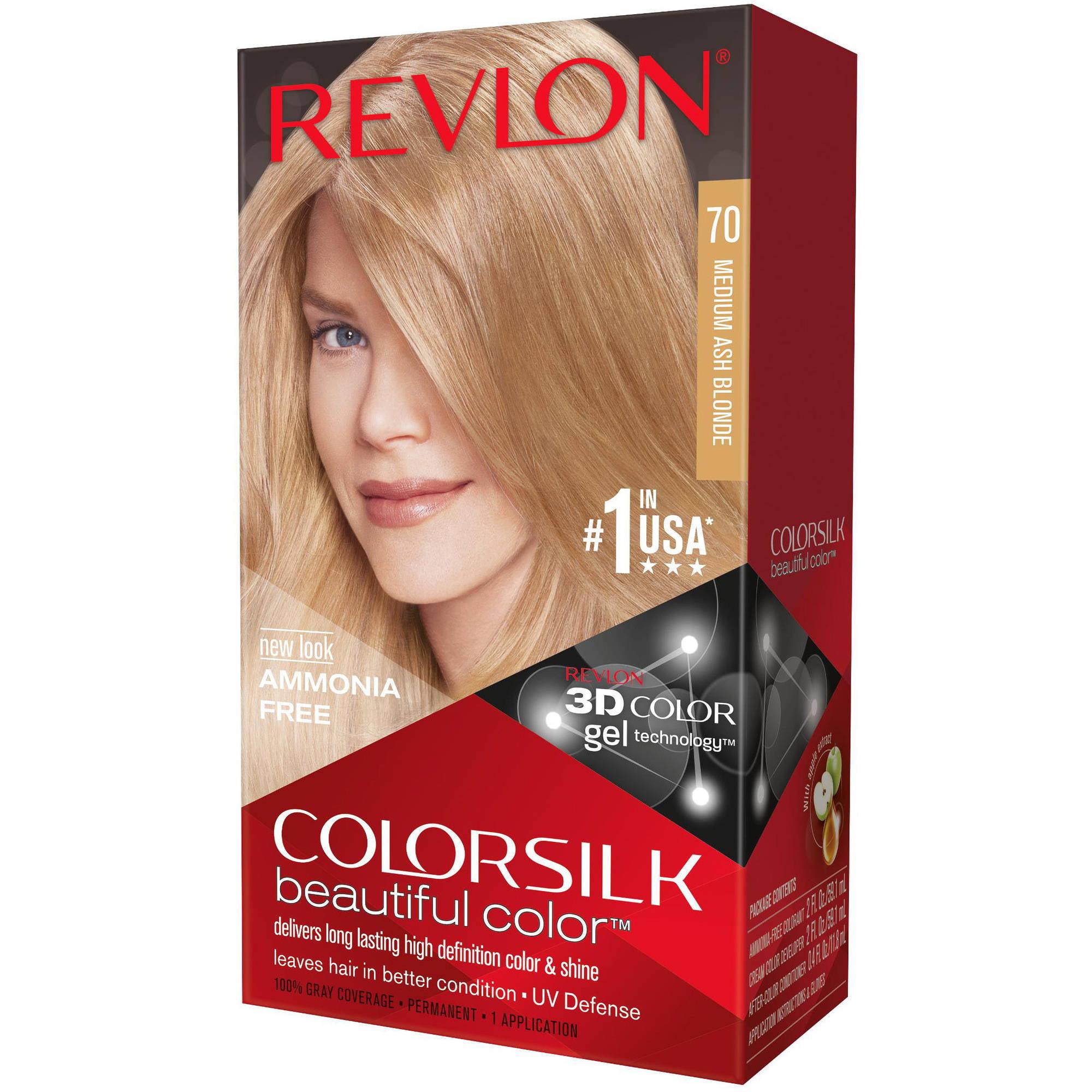 Revlon ColorSilk Beautiful Color Hair Color, 70 Medium Ash Blonde