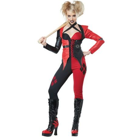 Psycho Jester Clown Harley Quinn Adult Comic Halloween Costume](Harley Quinn Halloween Costume)