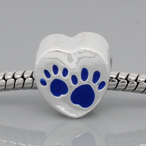 Antique Silver Design Blue Love Heart Dog Paws Charm Bead. Compatible With Most Pandora Style Charm Bracelets.