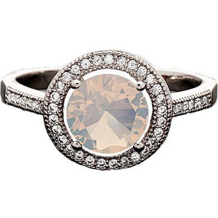 Swarovski Elements 14kt White Gold-Plated Heart-Cut October Opal Ring