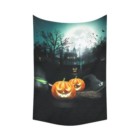 PHFZK Night Sky with Full Moon Wall Art Home Decor, Happy Halloween Pumpkin Castle Tapestry Wall Hanging 60 X 90 Inches](Halloween Tapestry)