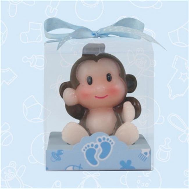 De Yi 11004-BL Safari Monkey Candle Favors in Blue