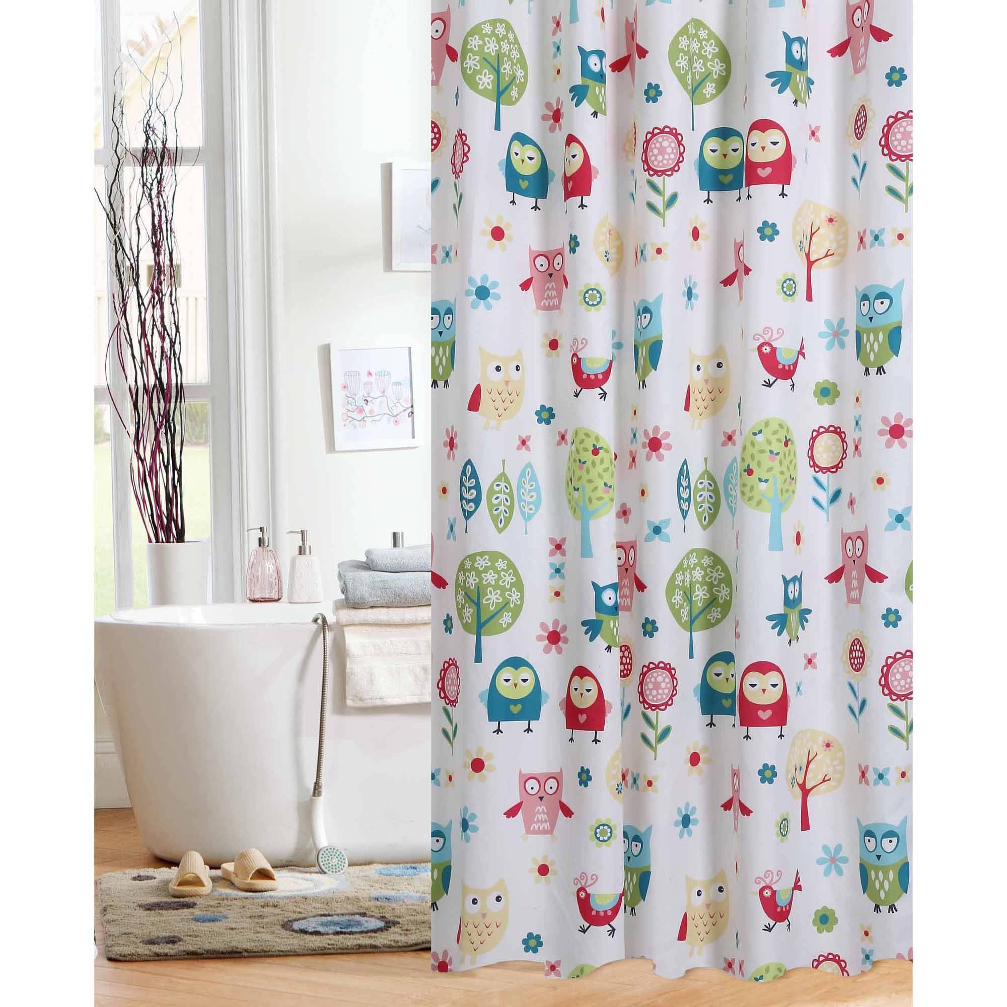 Mainstays Ogee Tile Fabric Shower Curtain With Hooks