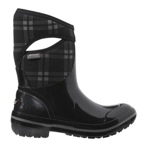 Bogs Boots Womens Plimsoll Plaid Mid Waterproof 8 Black 71786 by Bogs