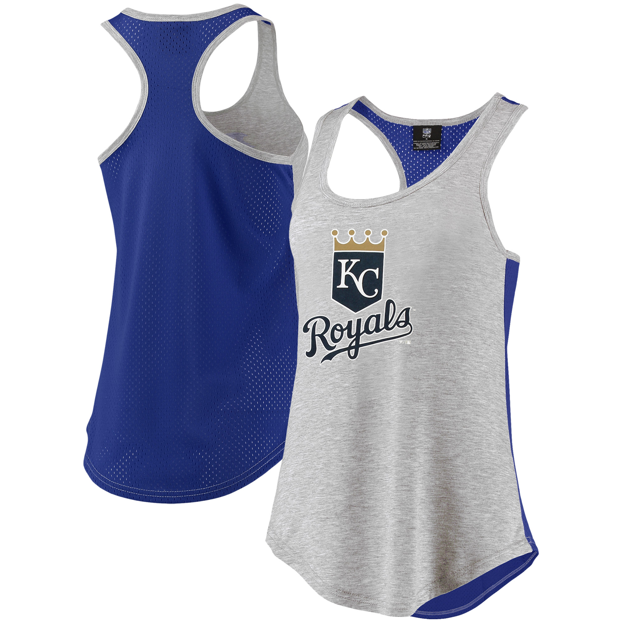 Kansas City Royals Fanatics Branded Women's Overtime Flow Out Tank Top - Heathered Gray/Royal