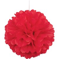 Tissue Paper Pom Pom, Red, 16 in, 1ct