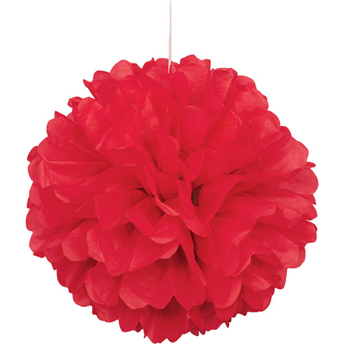 (3 pack) Tissue Paper Pom Pom, 16 in, Red, 1ct