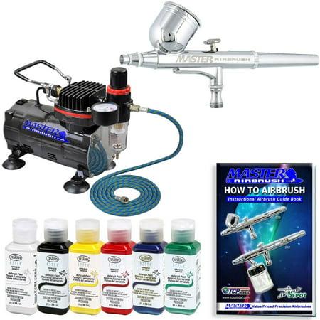 MASTER AIRBRUSH Gravity Dual-Action KIT SET Air Compressor Testors Aztek - Airbrush Paint Dvd