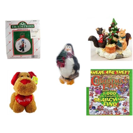 "Christmas Fun Gift Bundle [5 Piece] - Traditions Soldier Cross Stitch - Forest Friends Gingerbread Tree Resin Figurine - Penguin ""Welcome""  Ornament 8"" - Love is…You & Me  Dog 13"" - Where Are They?"