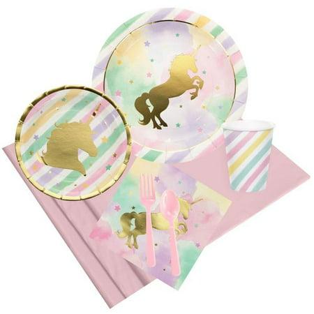 NA 57 Piece Unicorn Sparkle Paper Disposable Party Supplies Set