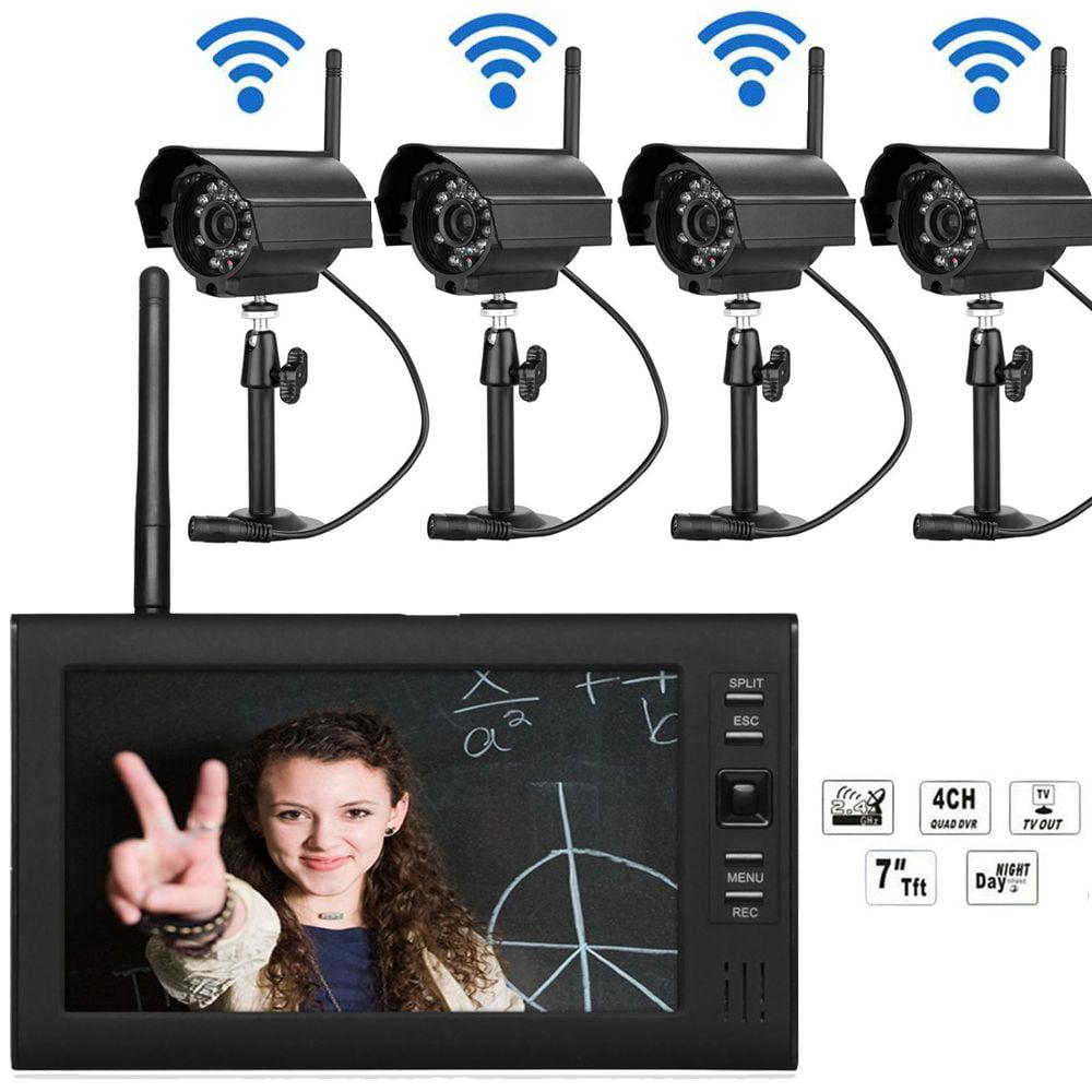 "Ktaxon 7"" LCD Monitor Wireless Security 4 Camera System I..."