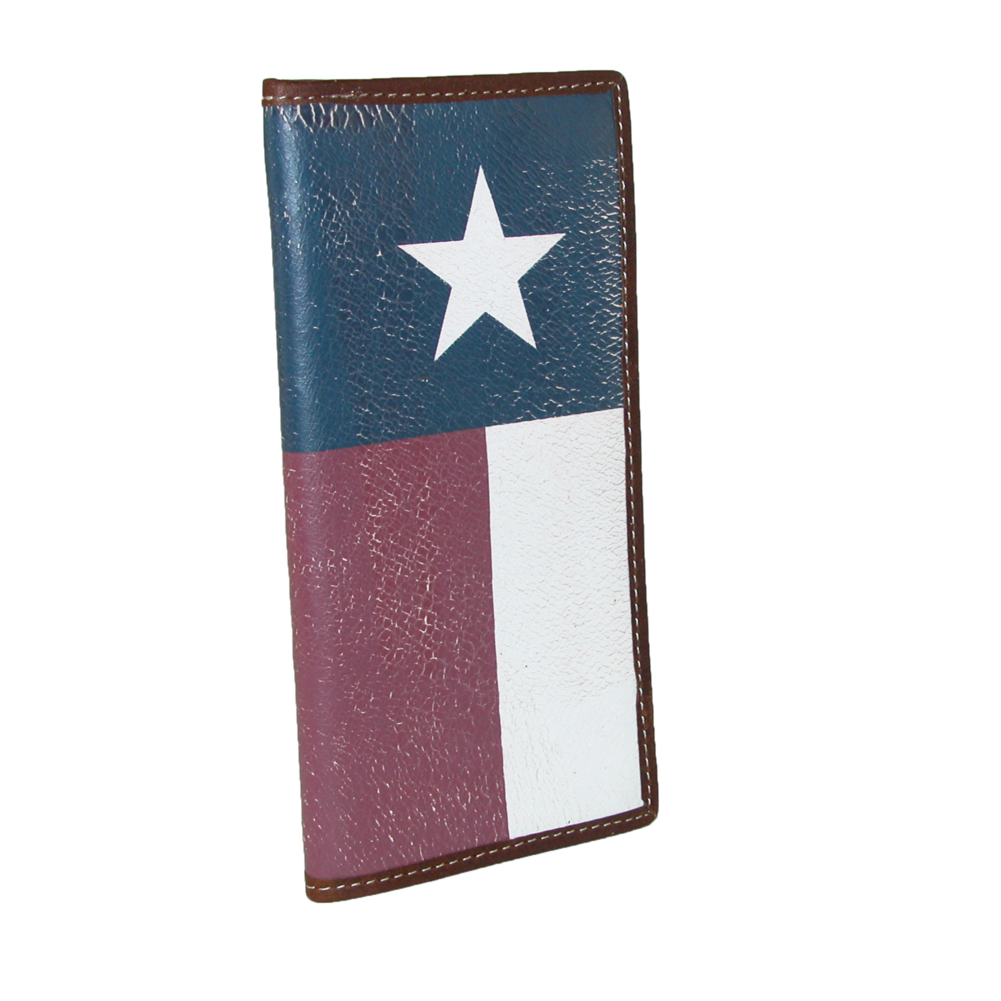 Image of 3 D Belt Company Men's Distressed Leather Rodeo Flag Checkbook Cover