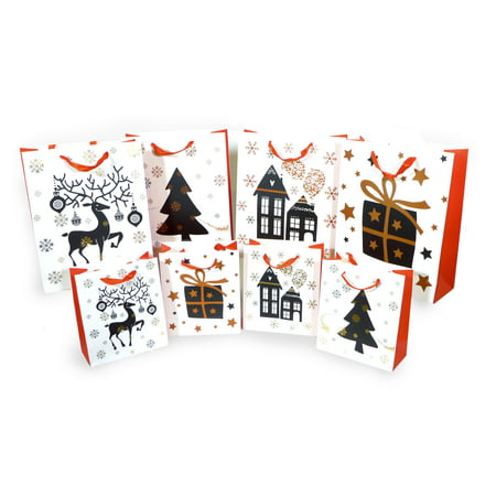Spiceberry Home Christmas Holiday Gift Bags, Mix Two Sizes, Pack of (Sixers Holiday Packs)