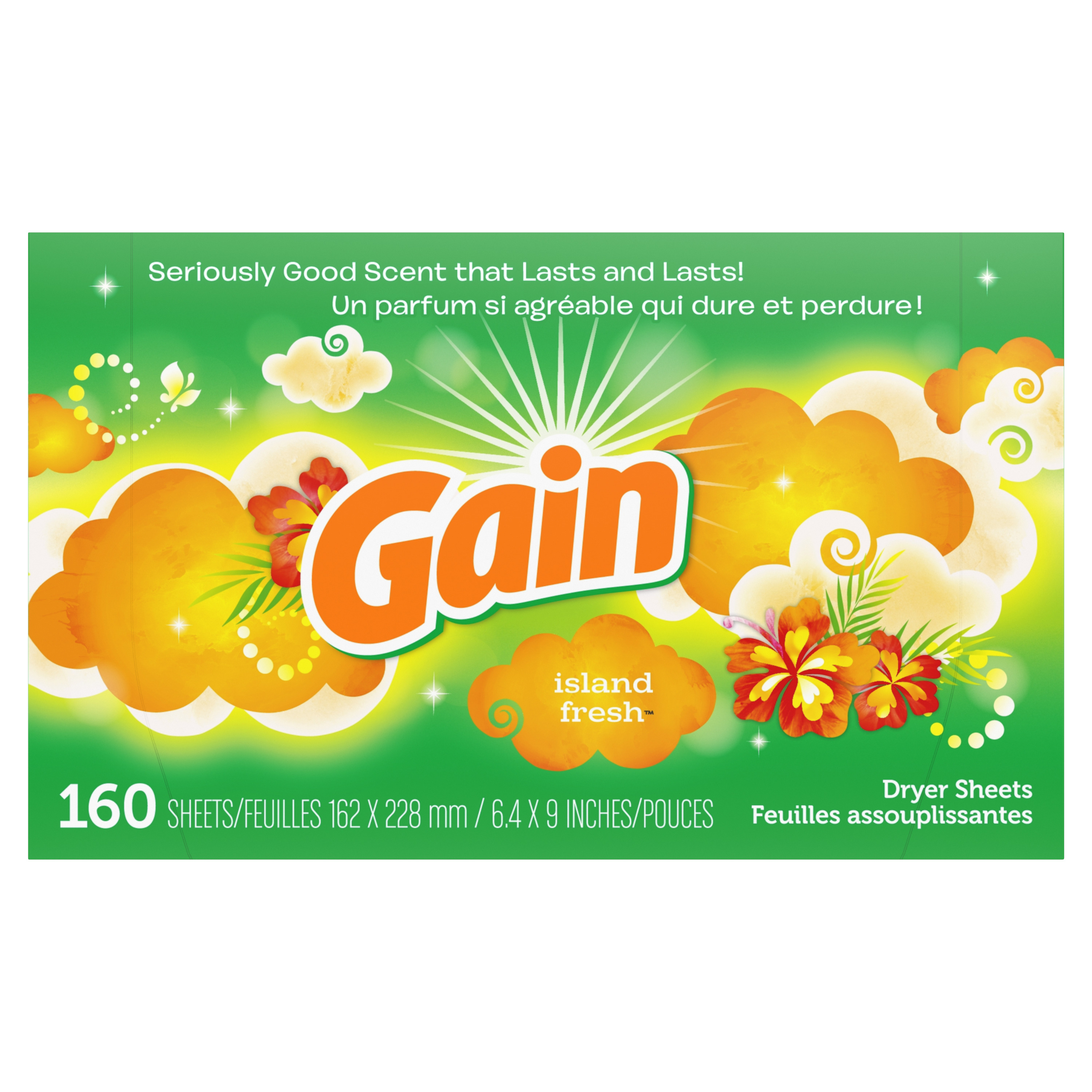 Gain Dryer Sheets, Island Fresh, 160 count