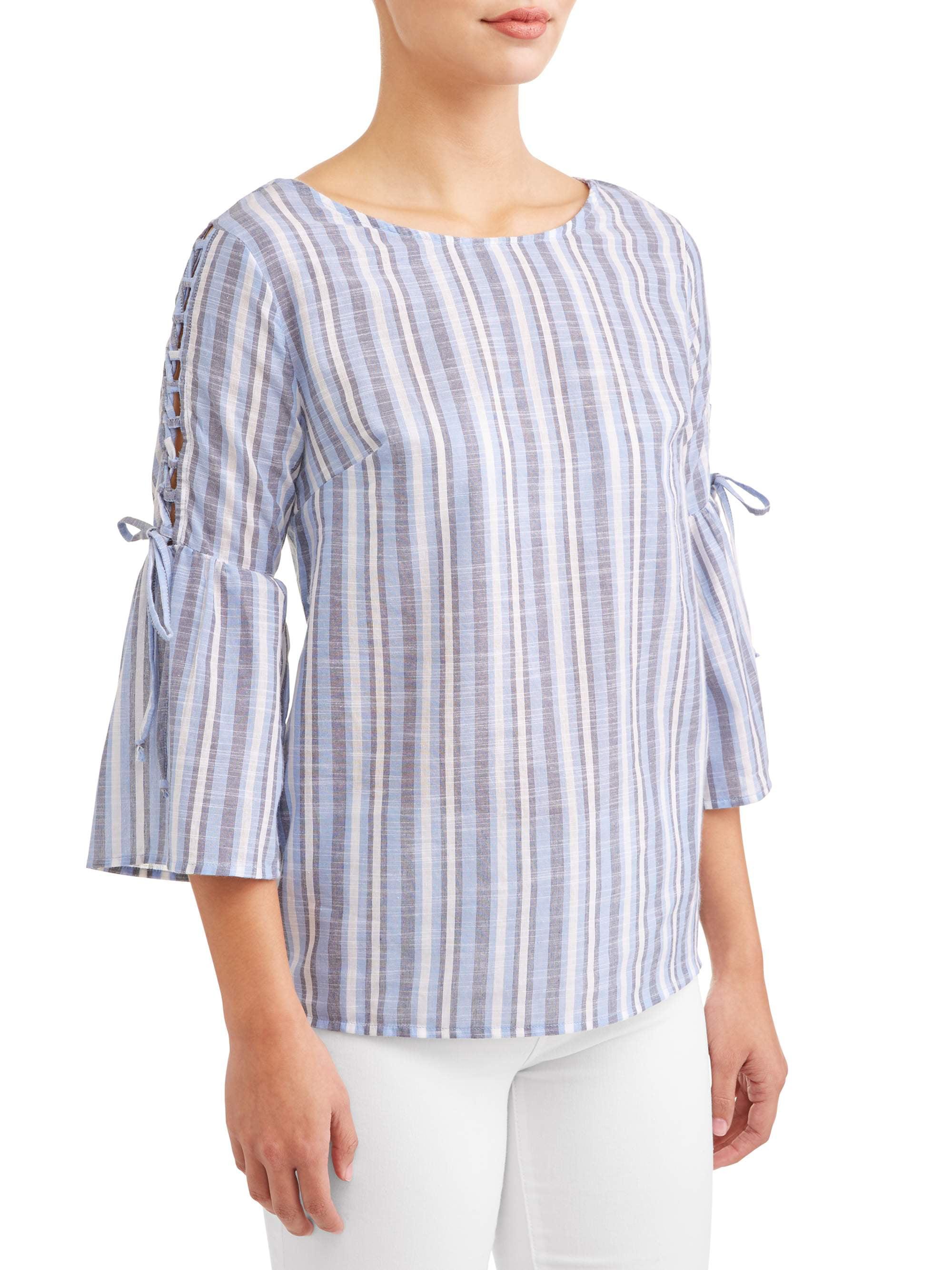 Women's Bell Sleeve Lace Up Stripe Top