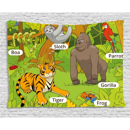 Educational Tapestry, Jungle Animals Colorful Funny Hand Drawn Style Zoo Nature Tropical Wildlife, Wall Hanging for Bedroom Living Room Dorm Decor, 60W X 40L Inches, Multicolor, by