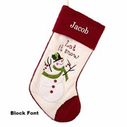 Personalized Let It Snow-man Christmas Stocking