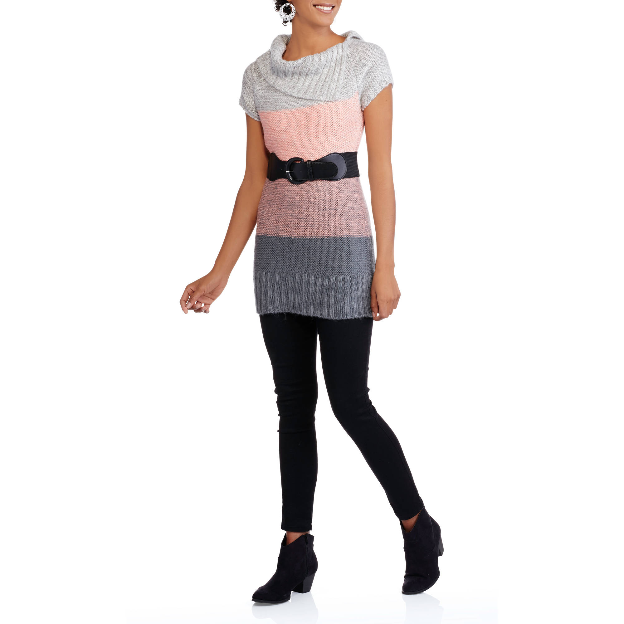 No Boundaries Juniors' Cowl Neck Belted Ombre Sweater Dress