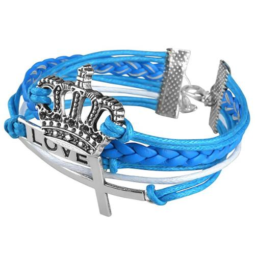 Zodaca Fashion Leather Cute Infinity Charm Bracelet Jewelry Silver lots Blue Crown