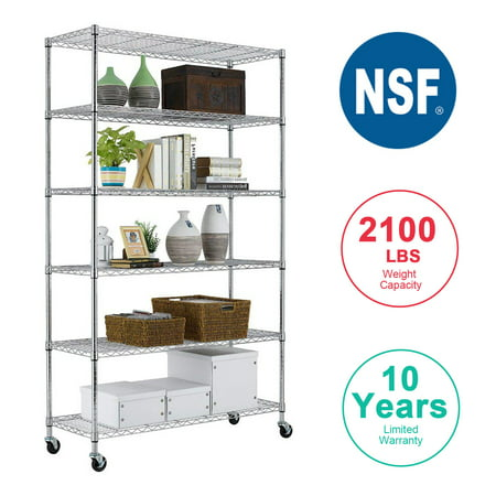 6 Tier Wire Shelving Unit Heavy Duty Height Adjustable NSF Certification Utility Rolling Steel Commercial Grade with Wheels for Kitchen Bathroom Office 2100LBS Capacity-18x48x82, Chrome ()