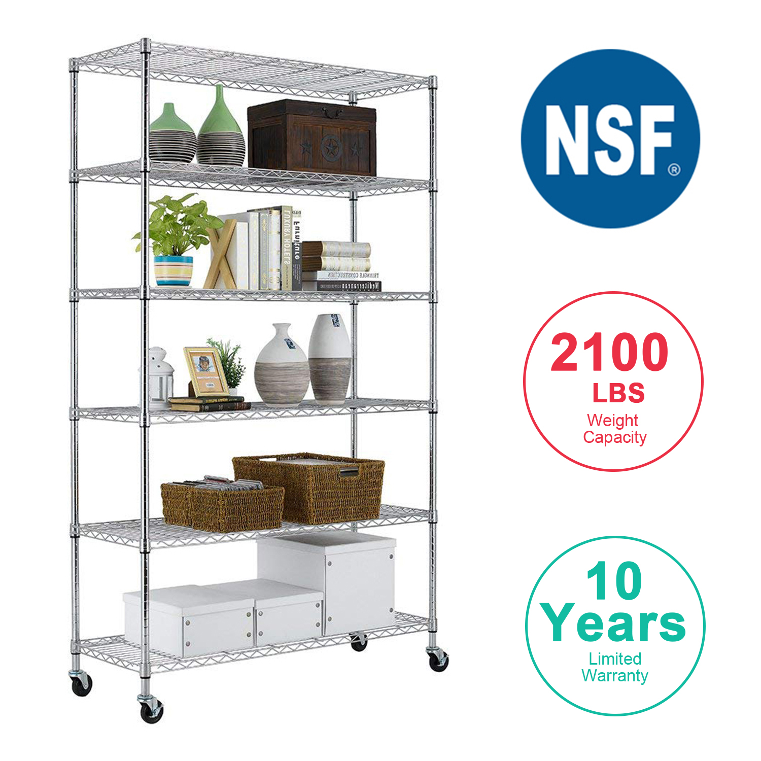 6 Tier Wire Shelving Unit Heavy Duty Height Adjustable NSF Certification  Utility Rolling Steel Commercial Grade With Wheels For Kitchen Bathroom ...