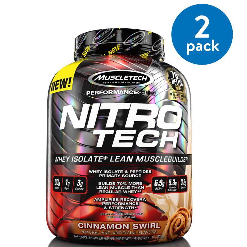 (2 Pack) MuscleTech Nitro Tech Protein Powder, Cinnamon Swirl, 4 Lb