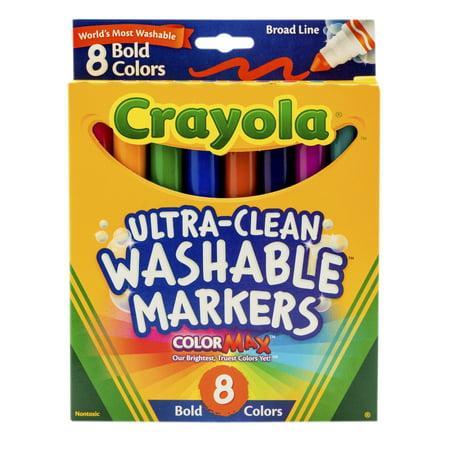 Crayola Washable Marker Set, 8-Colors, Broad, Bold