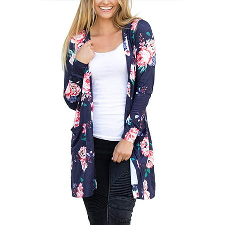 Womens Boho Irregular Long Sleeve Wrap Kimono Cardigans Casual Coverup Coat Tops Outwear (Pink Ladies And T Birds Jackets)