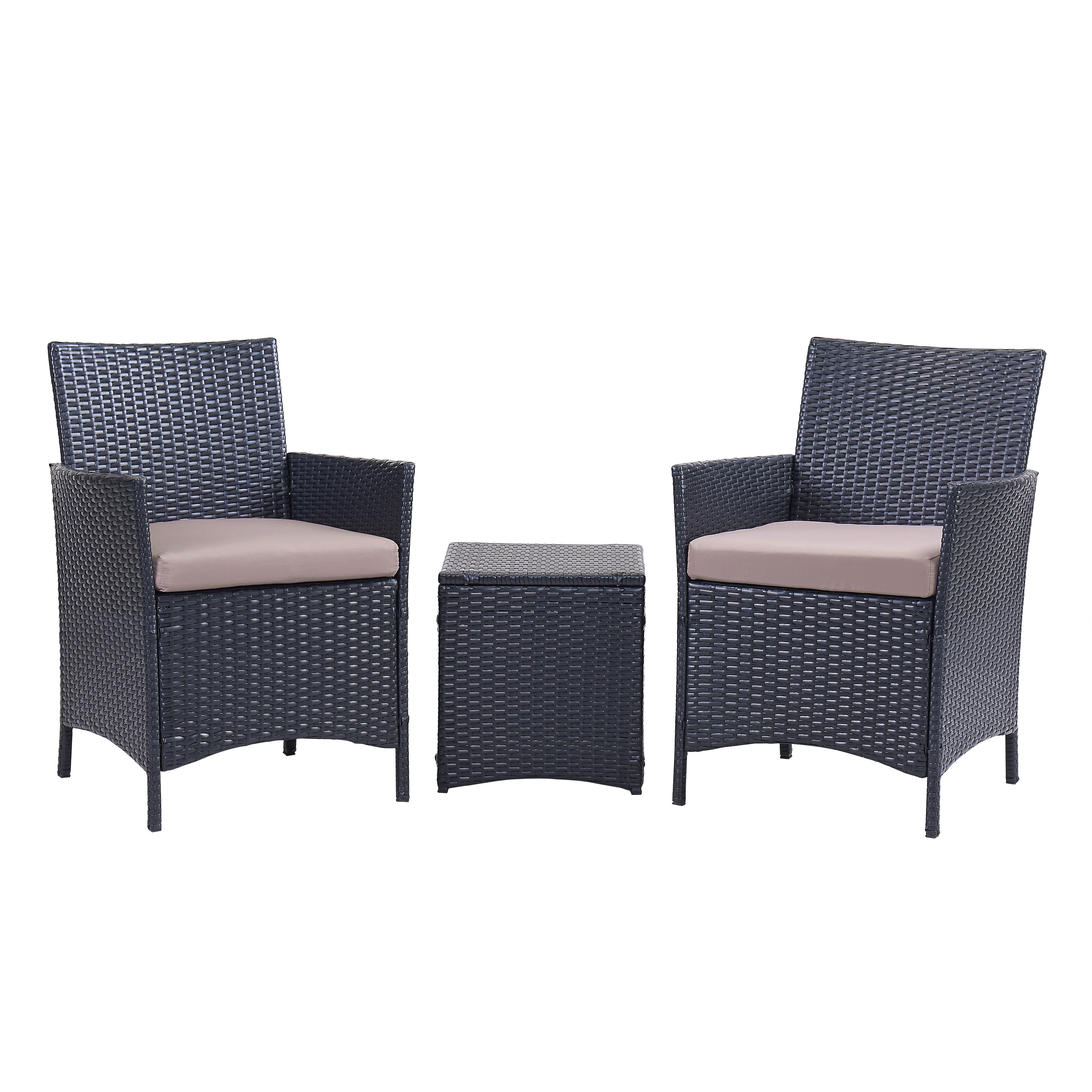 Santa Cruz 3-Piece Seating Set, Grey Wicker Rattan, White Cushions