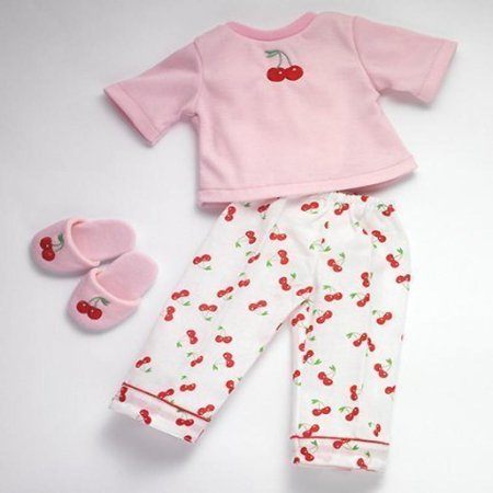 Carpatina Christmas Cherries Pajamas and Slippers fits 18