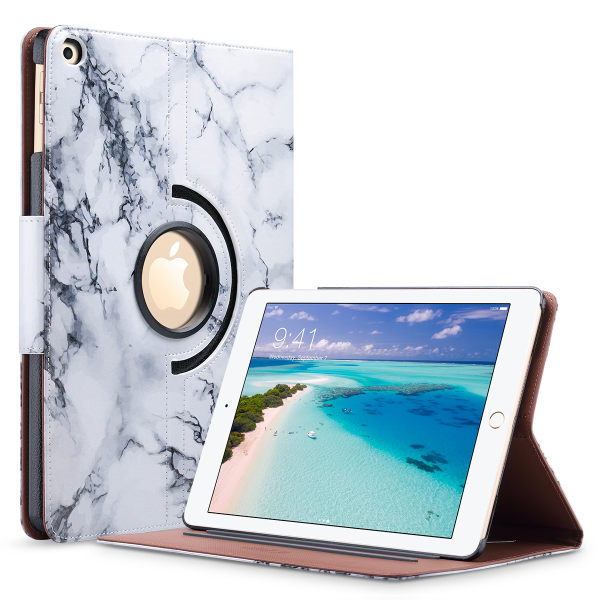 "New iPad 9.7"" 2017 / 2018 Case, ULAK Multi-Angle Viewing 360 Degree Rotating Stand Cover with Auto Wake/Sleep for New iPad 9.7 Inch (2017/2018)"