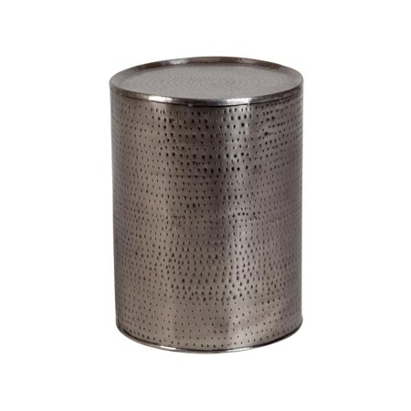 Rotonde Industrial Hand-Hammered End Table - Nickel (Hammered Nickel Table)