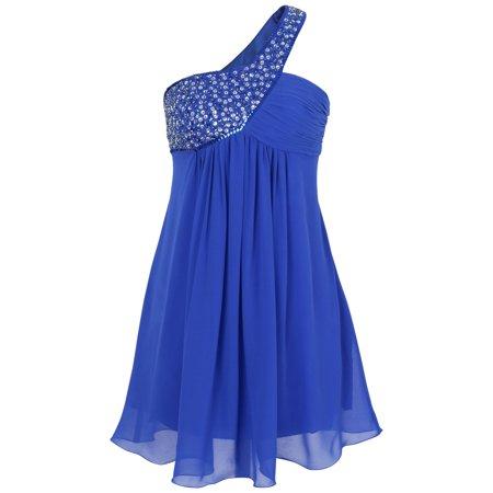 Beaded Georgette Dress (Elegant One Shoulder Beaded Pleated Short Formal Dress )