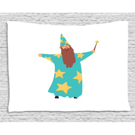 Wizard Tapestry, Cheerful Man with Long Beard in Blue Costume with Stars Cone Hat and Magic Wand, Wall Hanging for Bedroom Living Room Dorm Decor, 60W X 40L Inches, Multicolor, by Ambesonne (Magic Hat And Wand)