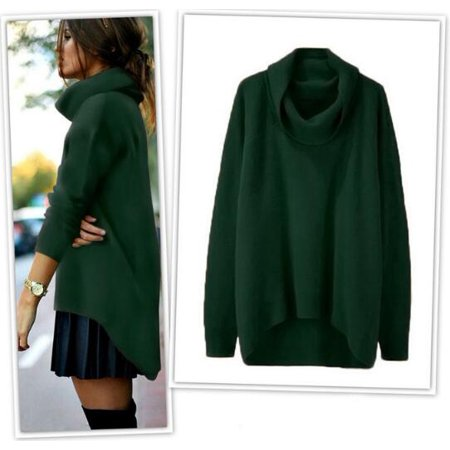 - Womens Turtleneck Long Sleeve Chunky Knit Pullover Sweater Loose Casual Cowl Neck Solid Cashmere Outwear