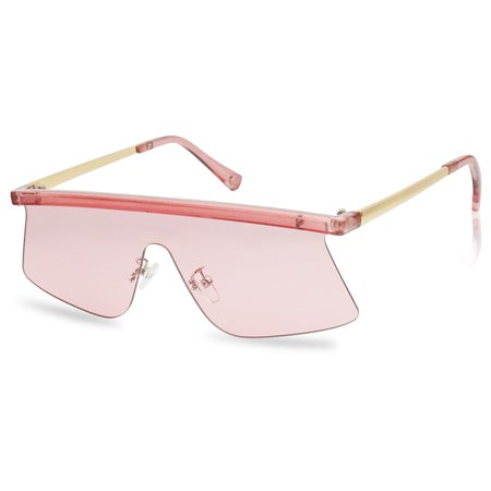 SunglassUP Futuristic Semi-Rimless Flat Top Aviator Shield Transparent Sunglasses Pink (Transparent Aviator Sonnenbrille)