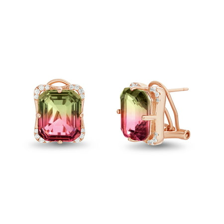 Inspired by You Emerald Cut Prong Set Simulated Watermelon Tourmaline and Round Cubic Zirconia Stud Bridal Earring for Women with Omega Back in Rose Gold Plated 925 Sterling
