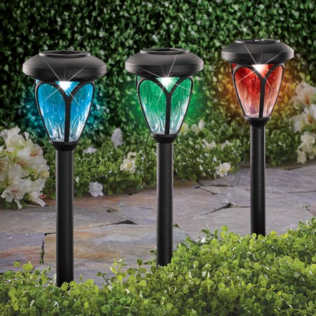 Solar Color-Changing Pathway Light Stakes for Walkway, Sidewalk or Driveway - Set of 3, Automatically Turns On at Night Solar Driveway Lights