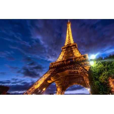Eiffel Tower Enhanced Colors Angle Poster Artistic Dreamy Sky Unique 24X36