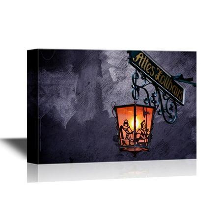 wall26 Canvas Wall Art - Creepy Lamp on Halloween Night - Gallery Wrap Modern Home Decor | Ready to Hang - 16x24 inches - Modern Halloween Decor