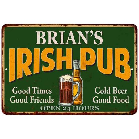 Irish Home Decor (BRIAN'S Irish Pub Personalized Beer Metal Sign Bar Decor 8x12 108120013023 )