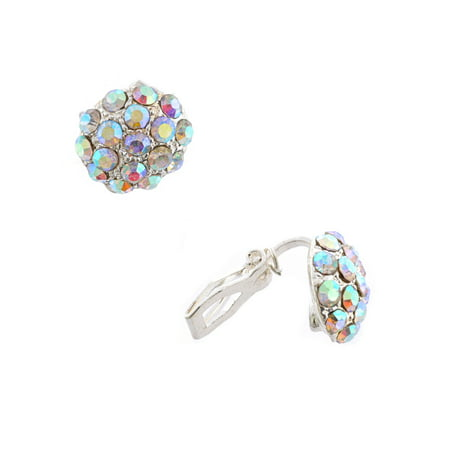 Fashion Earrings Silver Plating Aurora Borealis Rhinestone Clip On