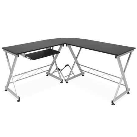 Best Choice Products Modular L-Shape Desk Workstation for Home, Office w/ Wooden Tabletop Keyboard Tray - Black