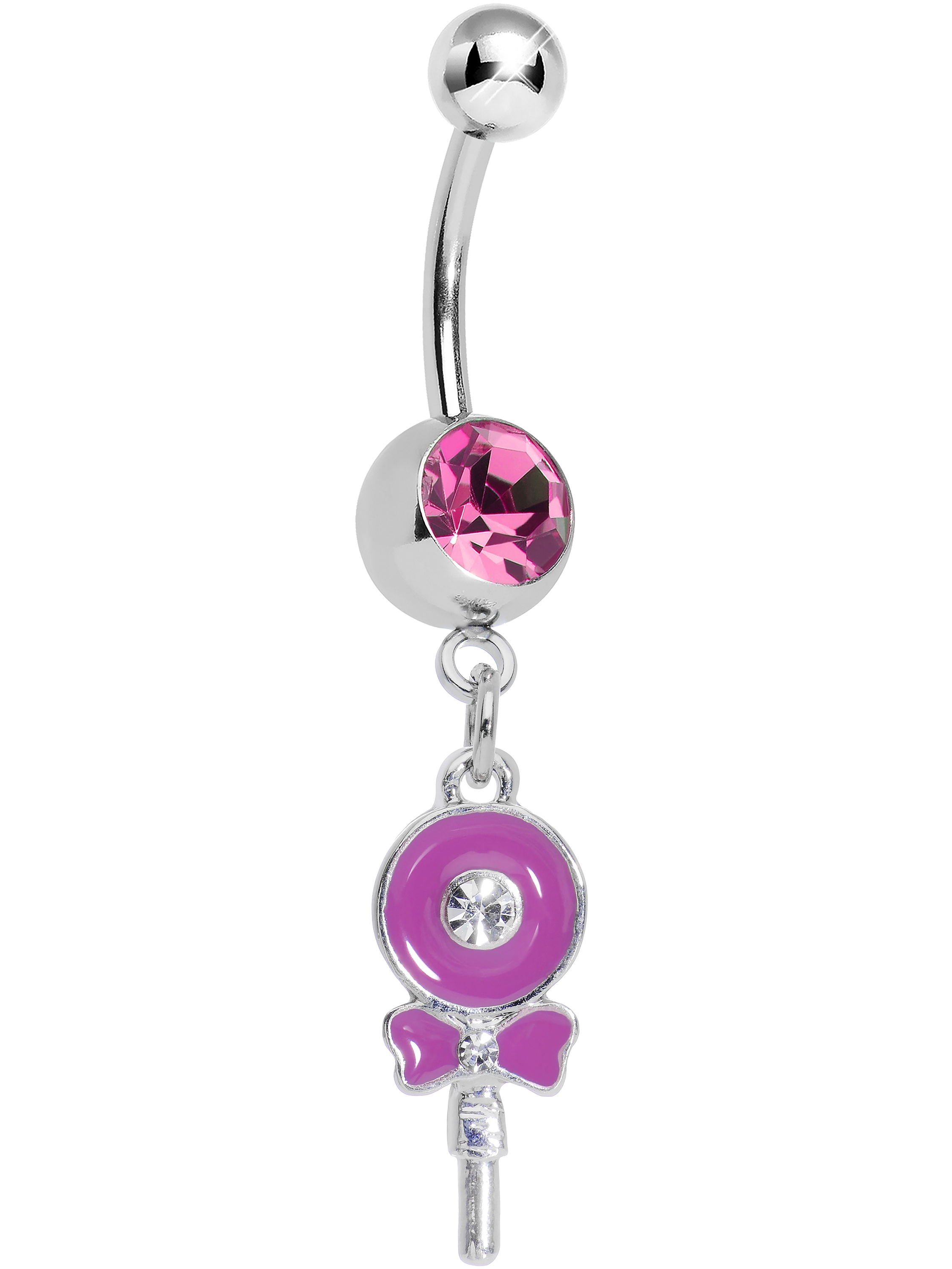 Pink Sweetly Wrapped Pink Lollipop Dangle Belly Ring
