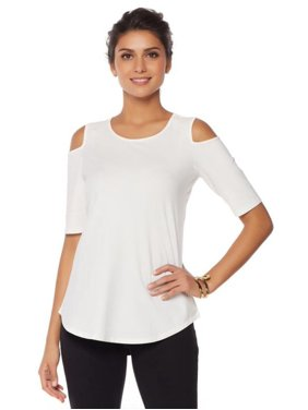 350448ad57673 Product Image DG2 Diane Gilman Jersey Knit Cold-Shoulder Top 548-258
