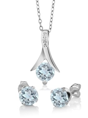 """2.25 Ct Round Aquamarine 925 Sterling Silver Pendant and Earrings Set 18"""" Chain"""
