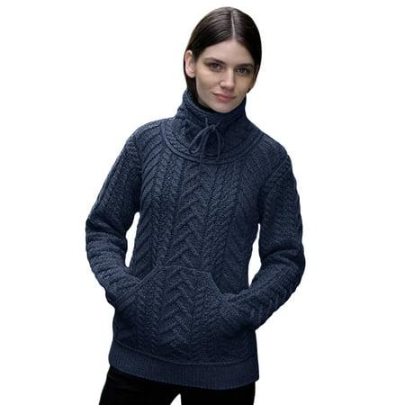 Irish Cowl Neck Merino Wool Sweater ()