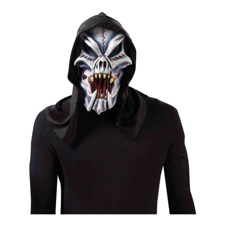 Adult's Hooded Freaky Bones Skeleton Demon Vinyl Full Mask Costume Accessory