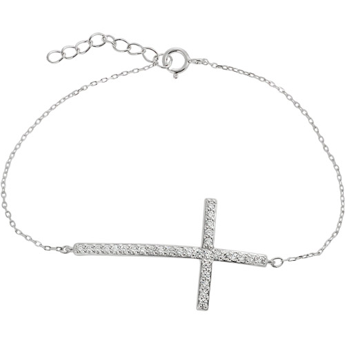 Alexandria Collection CZ Sterling Silver Cross Bracelet, 7""